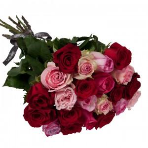 Букет от 15 до 25 рози в червено/розова гама (ти избираш броя)